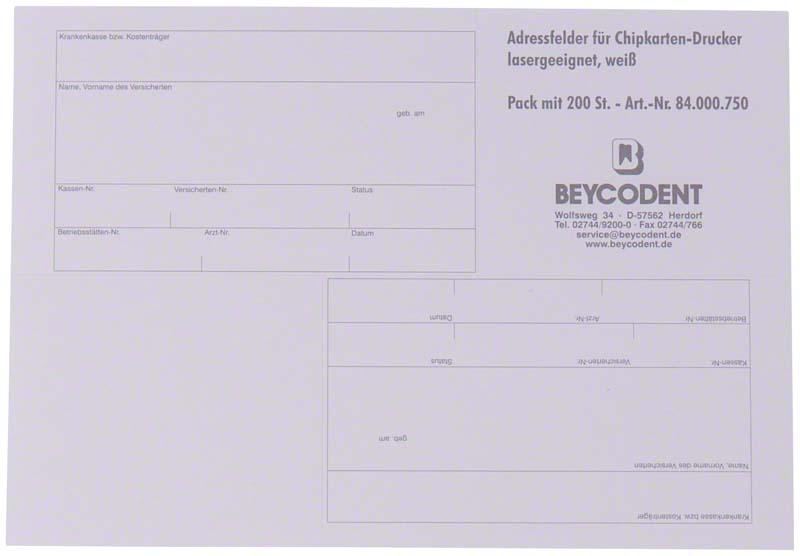 Adressfelder für Chipkarten-Drucker  Packung  200 Stück weiß 82 x 55 mm