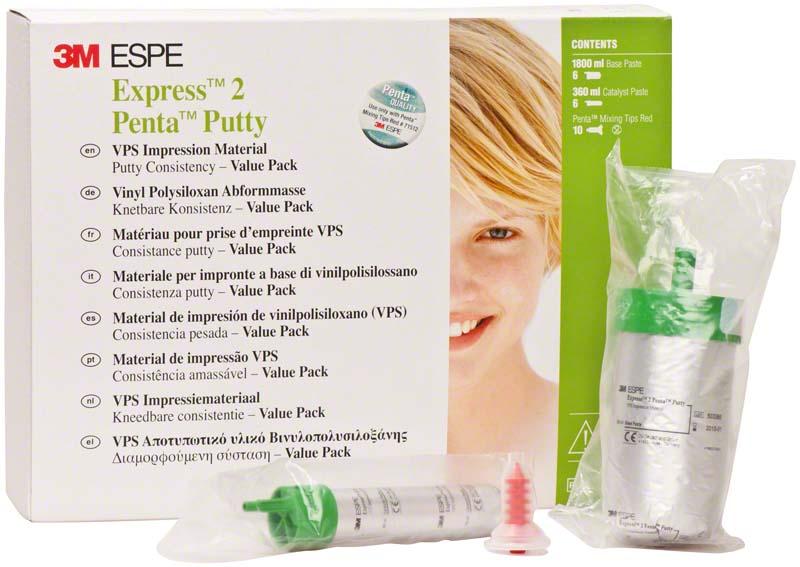 Express 2 Penta Putty\Soft  Value Packung  6 Basispasten, 6 Katalysatoren, 10 Mischkanülen rot