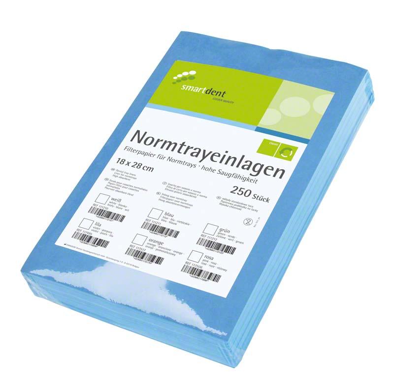 smart Normtrayeinlagen  Packung  250 Stück 28 x 18 cm, blau