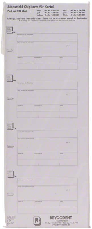 Adressfeld Chipkarte für Kartei  Packung  200 Stück weiß