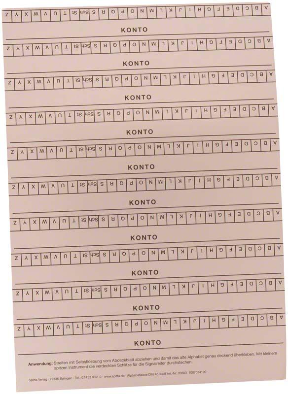 Alphabetleisten DIN A5  Packung  10 Stück weiß