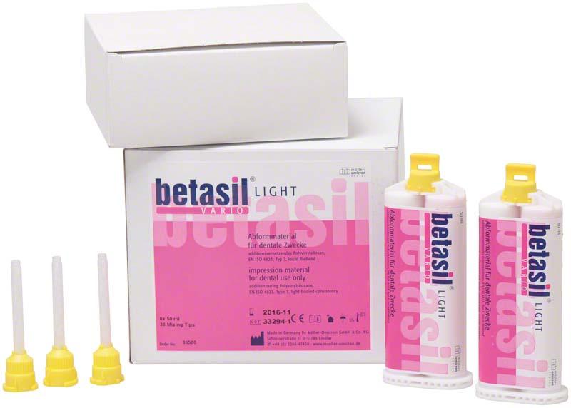 betasil® VARIO LIGHT  Großpackung  6 x 50 ml Kartusche, 36 Mixing Tips gelb
