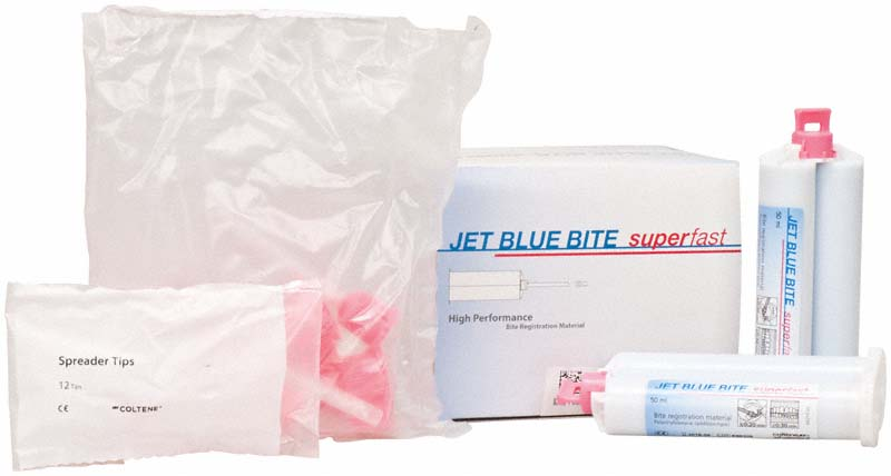 JET BLUE® BITE superfast  Refill Packung  4 x 50 ml Doppelkartusche, 12 Mixing Tips, 12 Spreader Tips